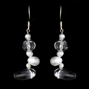 Freshwater Pearl & Crystal Faceted Glass Stone Earrings E 8193