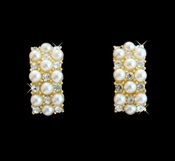 Gold & Ivory Pearl Clip On Bridal Earrings E 20613