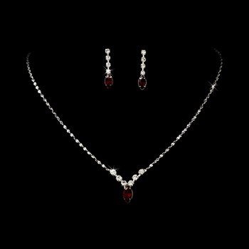 Necklace Earring Set 307 Silver Red