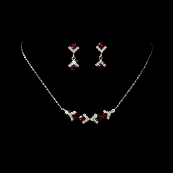 * Necklace Earring Set 327 Silver Red