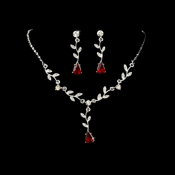 Necklace Earring Set 328 Dangle Silver Clear Red