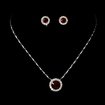 Necklace Earring Set 71576 Silver Red