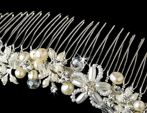 Silver Ivory Pearl and Crystal Comb 8001
