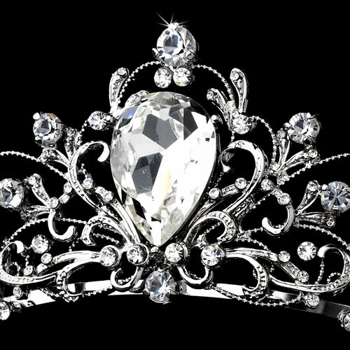 Antique Rhodium Silver Tiara Clear Headpiece 8329