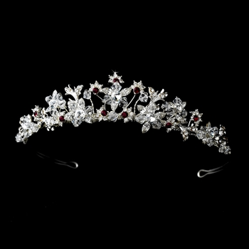 Captivating Silver Clear & Red Crystal Tiara Headpiece 9782