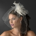 * High Fashion Russian Birdcage Veil with Feathers & Austrain Crystals on Comb 1136