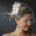 Russian Tulle & Feather Fascinator & Birdcage Veil on Comb in White