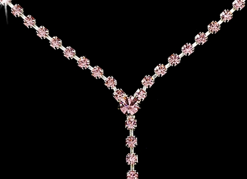 * Silver Pink Y Drop Crystal Jewelry Set NE 313