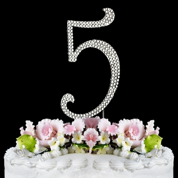 Completely Covered ~ Swarovski Crystal Wedding Cake Topper ~ Number 5 (Silver or Gold)