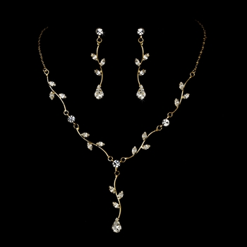 Gorgeous Gold Clear Crystal Necklace & Earring Set 315