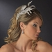 * Vintage Silver Clear Crystal Bridal Comb w/ White Feathers 9824