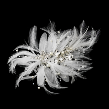 Incandescent Silver Clear Rhinestone & Ivory Feather Bridal Comb 5552