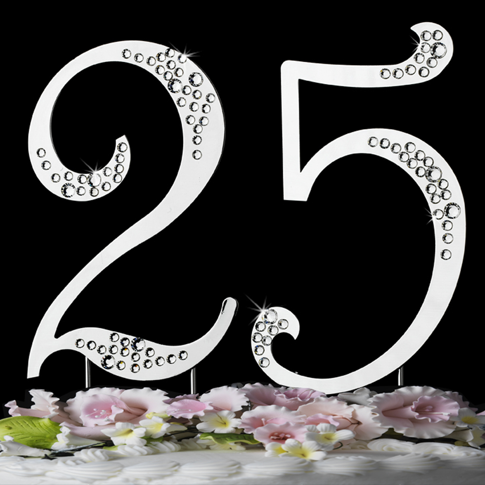 25th Anniversary Or Birthday Crystal Accented Cake Top Sparkle
