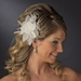 Feather Flower Bridal Hair Comb Adorn with Swarovski & Rhinestones Comb 8397 Ivory or White