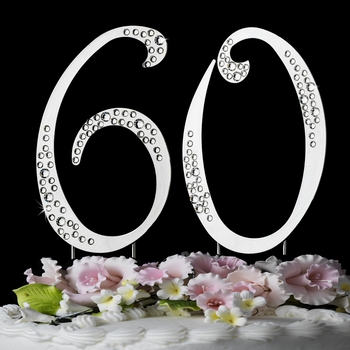 "60th Birthday or Anniversary  Crystal Accented Cake Top "" Sparkle """