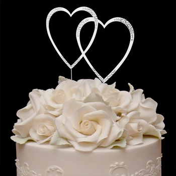 swarovski crystal double heart wedding cake topper sparkle swarovski wedding cake topper 20673