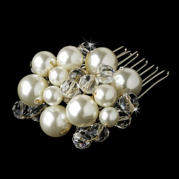 Beautiful Gold Clear Crystal & Ivory Pearl Hair Comb 8154