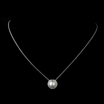 Solid 925 Sterling Silver White Pearl CZ Round Pendent Necklace 8821
