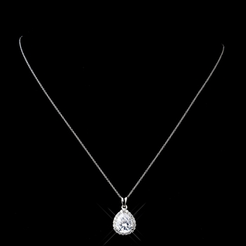 Solid Sterling Silver CZ Crystal Pendent Teardrop Necklace 9990 **Discontinued**