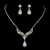 Silver Clear Tear Drop Rhinestone Necklace & Earrings Bridal Jewelry Set 12715