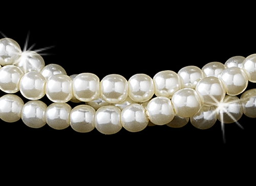 Gold & Ivory Pearl Choker and Earring Set NE 131