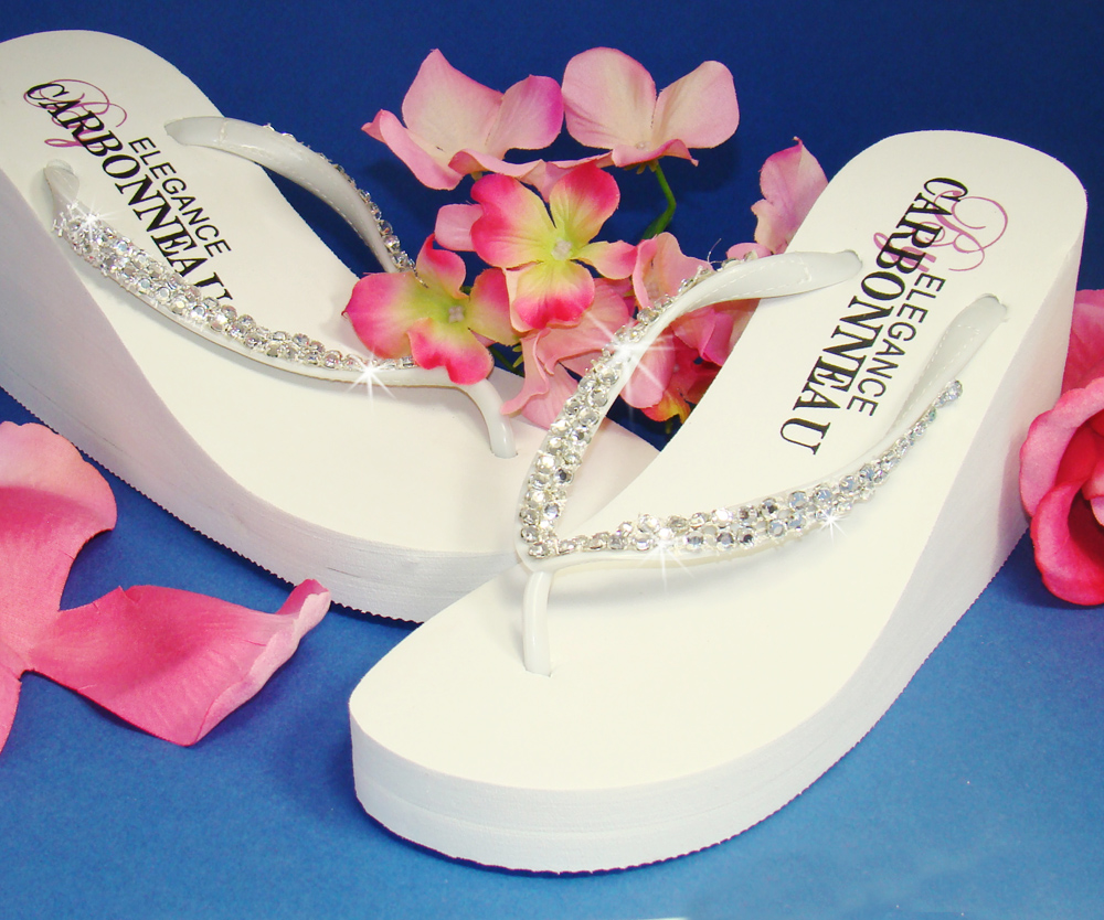 e94fc0ab30db6 Crystals ~ White High Wedge Bridal Flip Flops with Crystal Accents   Slightly Defective