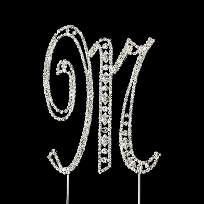 Wedding Cake Toppers Letter M : Vintage ~ Swarovski Crystal Wedding Cake Topper ~ Letter M