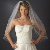 Double Layer Fingertip Length Bridal Veil with Exquisite Beaded Edge V 2475