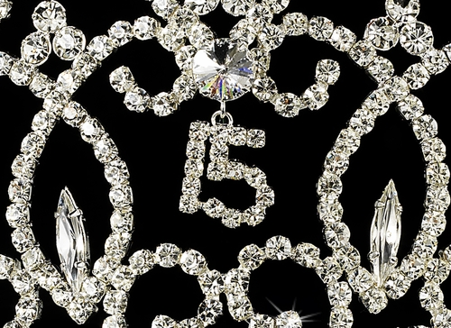 Royal Sweet 15 Quinceañera Silver Headpiece Covered in Clear & Rhinestones 251