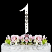 French Flower ~ Swarovski Crystal Wedding Cake Topper ~ Silver Number 1