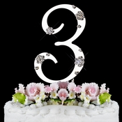 French Flower ~ Swarovski Crystal Wedding Cake Topper ~ Silver Number 3