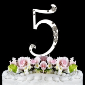French Flower ~ Swarovski Crystal Wedding Cake Topper ~ Silver Number 5