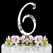 French Flower ~ Swarovski Crystal Wedding Cake Topper ~ Silver Number 6