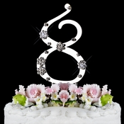 French Flower ~ Swarovski Crystal Wedding Cake Topper ~ Silver Number 8