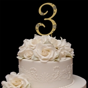 French Flower ~ Swarovski Crystal Wedding Cake Topper ~ Gold Number 3
