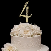French Flower ~ Swarovski Crystal Wedding Cake Topper ~ Gold Number 4