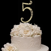 French Flower ~ Swarovski Crystal Wedding Cake Topper ~ Gold Number 5