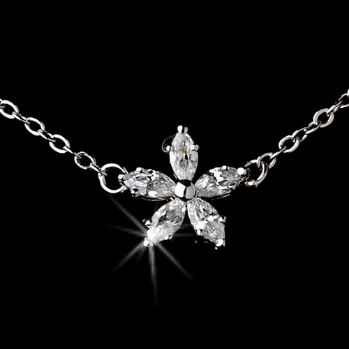 Stunning Antique Silver Clear Five Cubic Zirconia Flower Necklace N 3000