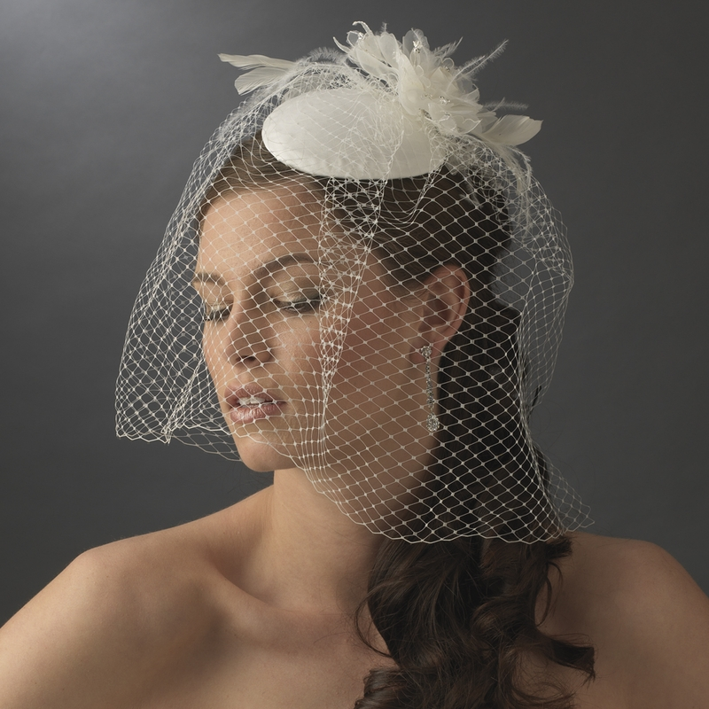 Vintage White Or Ivory Bridal Hat W Bird Cage Face Veil Flower Adornment 8307