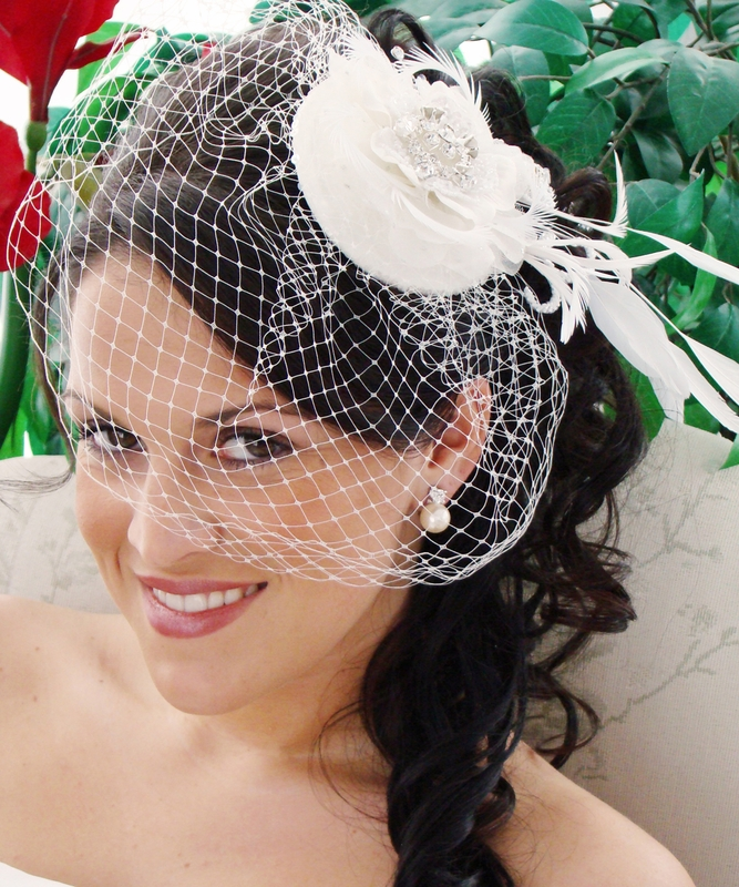 Exquisite Bridal Hat And Birdcage Veil On Clip In White Or Ivory 8127