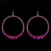 Fuchsia Rhinestone Hoop Earrings E 951 **1 left**