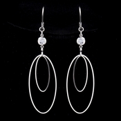 Silver Clear Oval Crystal Dangle Earrings 8725