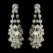 Silver Clear Crystal and Rhinestone Bridal Earrings 70013