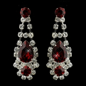Silver Clear Crystal & Red Rhinestone Bridal Earrings 70013