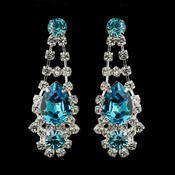 Silver Clear Crystal & Turquoise Rhinestone Bridal Earrings 70013