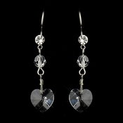 Silver Clear Crystal Heart Dangle Drop Bridal Earrings 40513