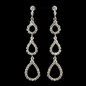Silver Clear Three Tiered Tear Drop Rhinestone Bridal Earrings 25301