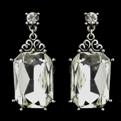 Antique Silver Clear Octagon Rhinestone Bridal Stud Earrings 22245