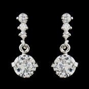 Silver Clear CZ Crystal Dangle Drop Earrings 20729
