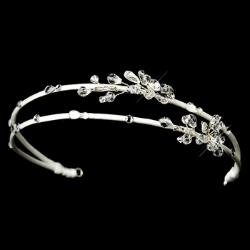 * Silver Clear Double Row Side Crystal Accented Headband Headpiece 2281